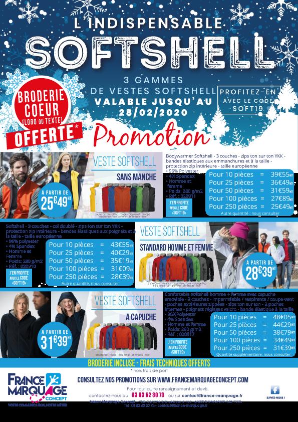 Retrouvez nos 3 gammes de vestes Softshell en promotion